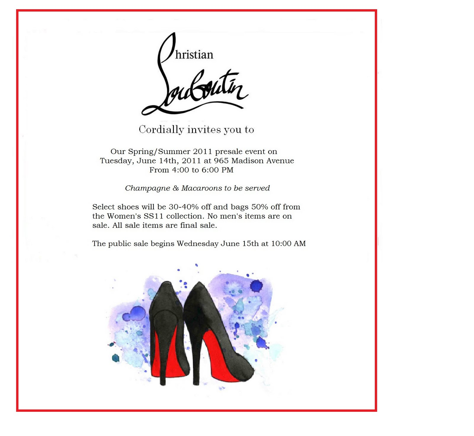 christian louboutin sample sale invitation 2015