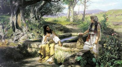 Jesús charlando con una mujer en Jerusalem