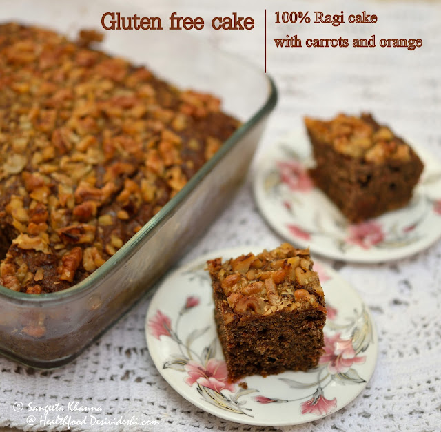 ragi cake with carrot and orange