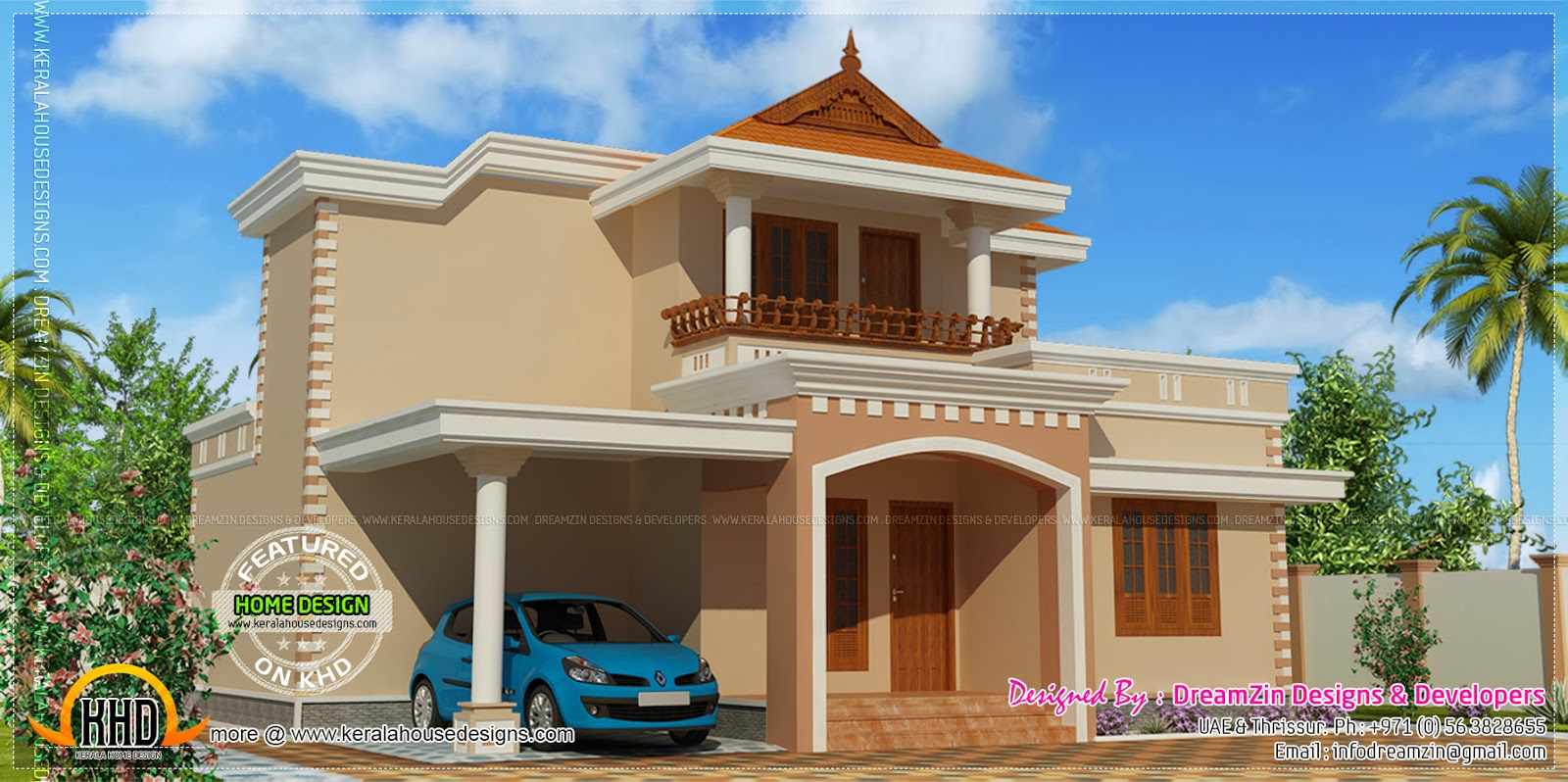 Simple double storied house elevation kerala home design for Simple house plans india