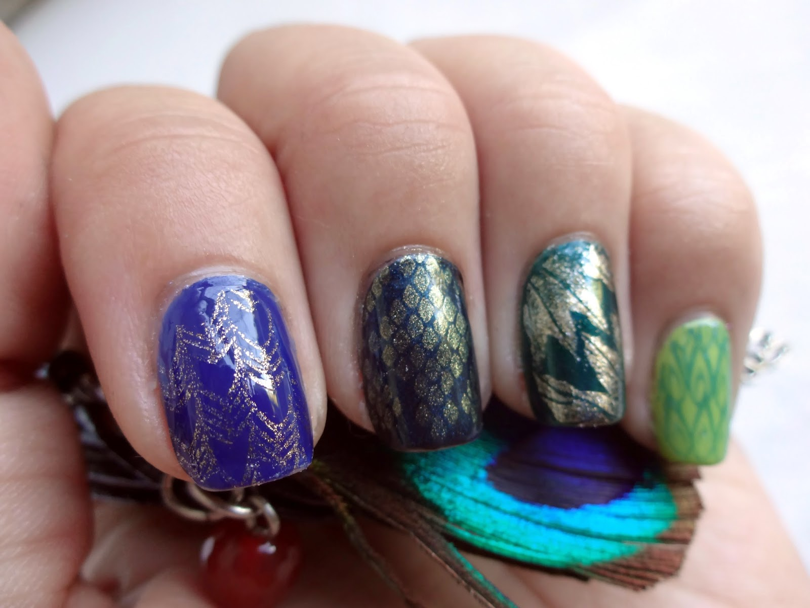 Scales and Feathers Nail Art