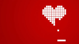 Retro desktop wallpaper pixel heart Pong style