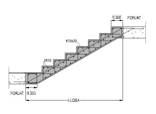 sección escalera hormigón
