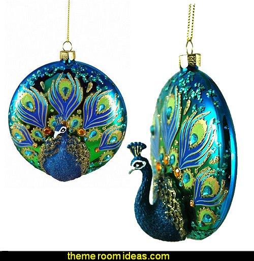 Glass & Resin 3D Peacock Hanging Christmas Tree Ornament