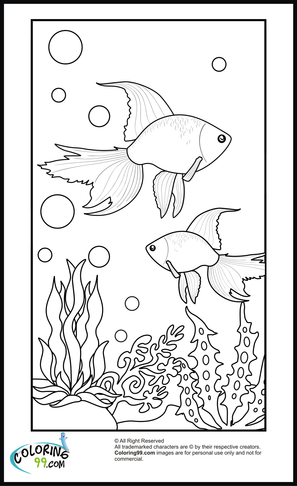 easy goldfish coloring page for kids