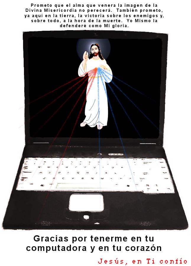 foto editada de una imagen de una computadora con la divina misericordia