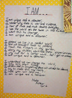 photo of I Am ... poem @ Runde's Room