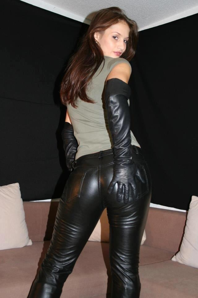 Porn in leather pants