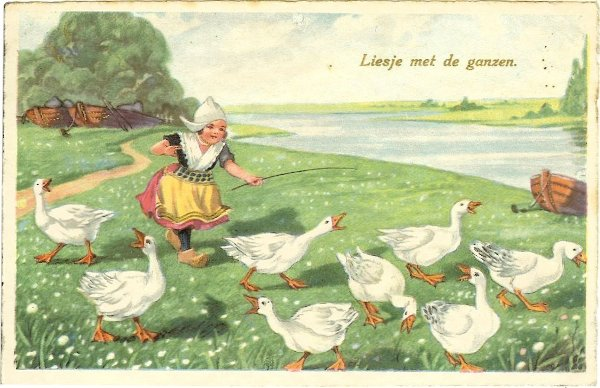 children's illustration of little Dutch girl wearing clogs, running after geese