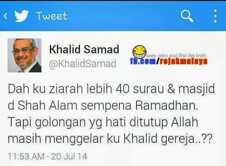 Khalid Samad Sedih AJK Surau Dan Masjid Di Shah Alam Gelarkan Dia Khalid Gereja