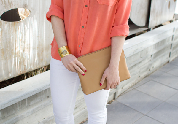 Orange and white outfit for spring