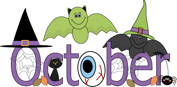 October represented with witch hats and bats