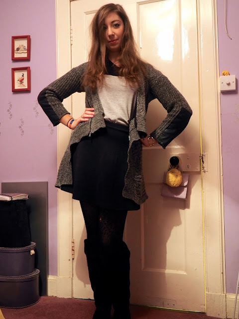 Black Suede Boots | outfit of thick grey woollen cardigan, simple grey & black top, black skater skirt & knee high black suede boots
