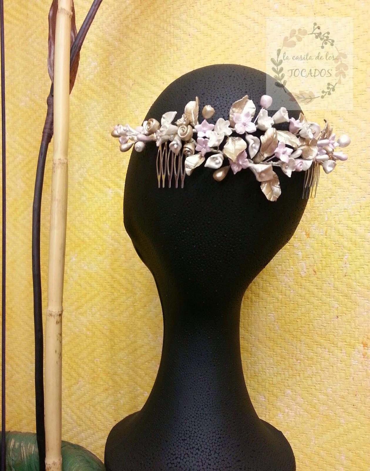 semicorona para novia artesanal en porcelana fria estilo vintage
