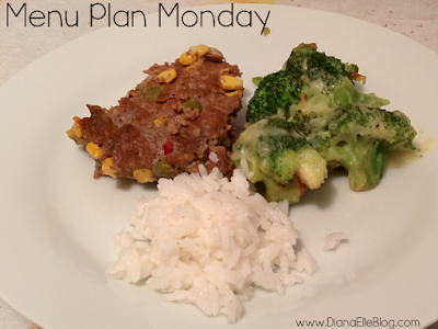 Meatloaf, rice and broccoli as a part of the Menu Plan