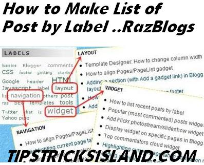 Auto List Creation of Posts by Label