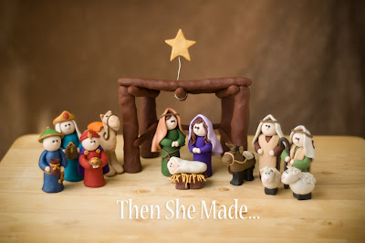12 Piece Clay Nativity DIY Christmas