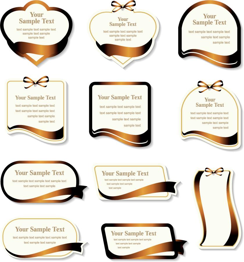 金色リボンがお洒落なラベル golden ribbon label vector イラスト素材