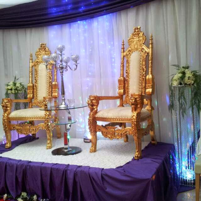 Lara party hire gold large wedding king queen throne chairs for Diy king throne chair