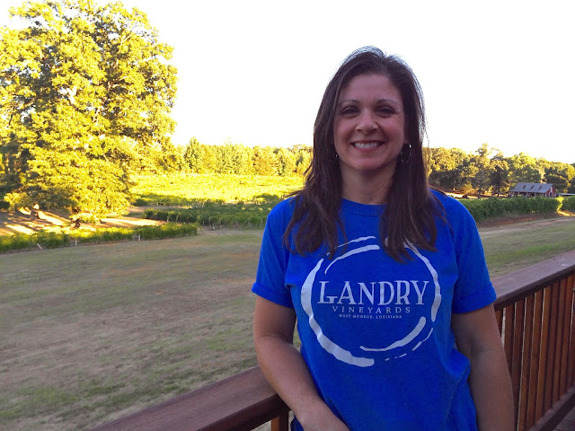 Libby Landry overlooking the vineyard in West Monroe, Louisiana