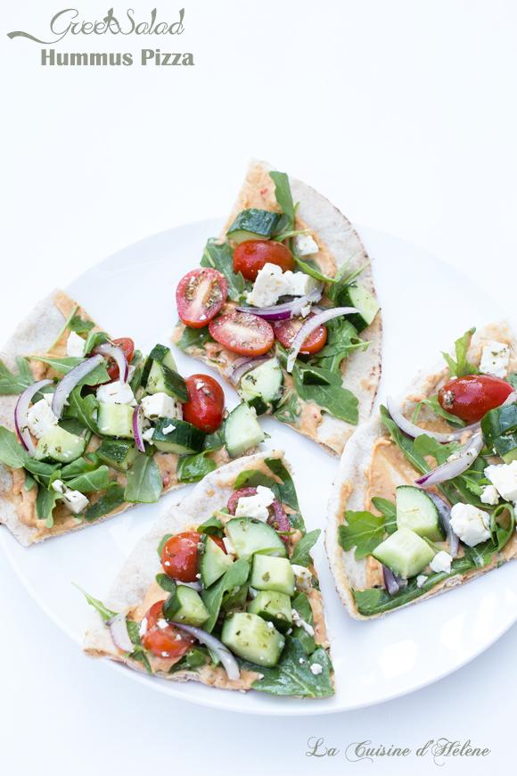 greek salad hummus pizza