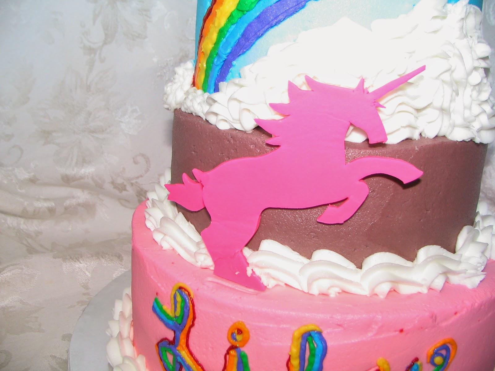 Piped Dreams Lilys 5th Birthday Cake Rainbow Unicorns