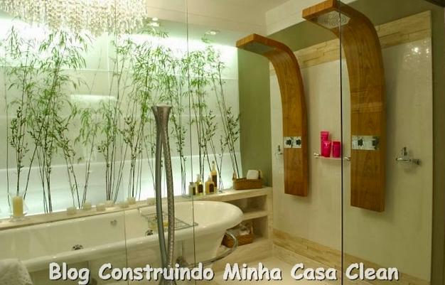 Construindo Minha Casa Clean Banheiros e Lavabos com Jardins de Inverno!!! Q -> Banheiro Com Banheira E Jardim De Inverno