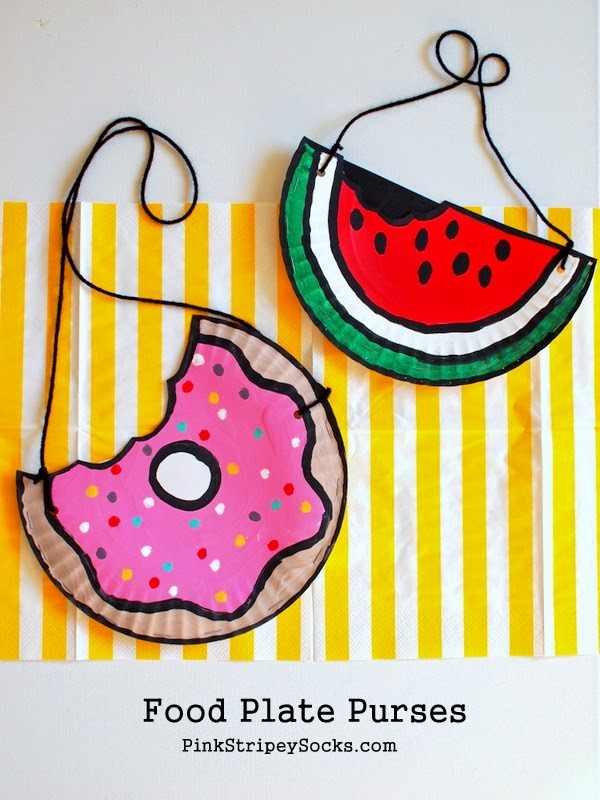 Paper Plate Kids' Craft- Doughnut and Watermelon Purses