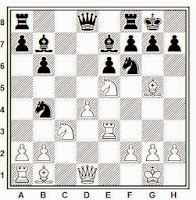 Partida de ajedrez Keene-Miles, 1975, posición después de 17. Te3!