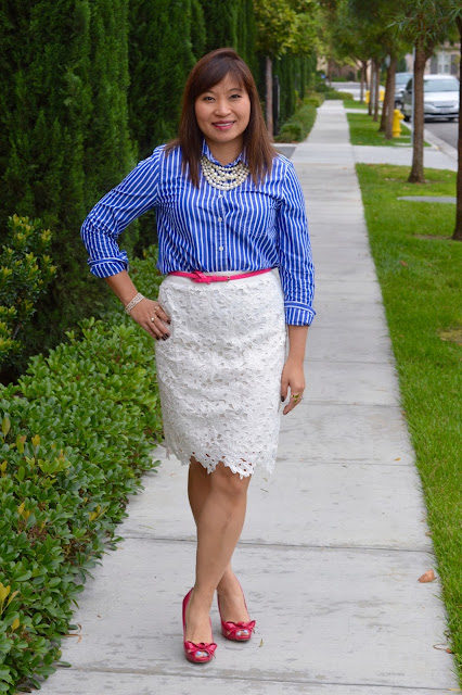 J Crew Vertical Stripe shirt, Loft Lace skirt, pattern mixing, fashion over 40