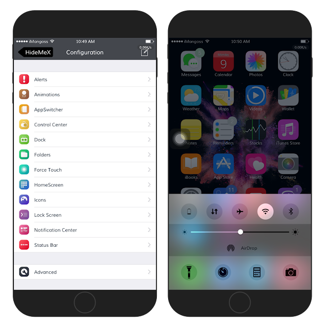 HideMeX (iOS 9) is a jailbreak tweak that brings complete iOS customizing experience like no other. Now you can have your own controls on your iPhone