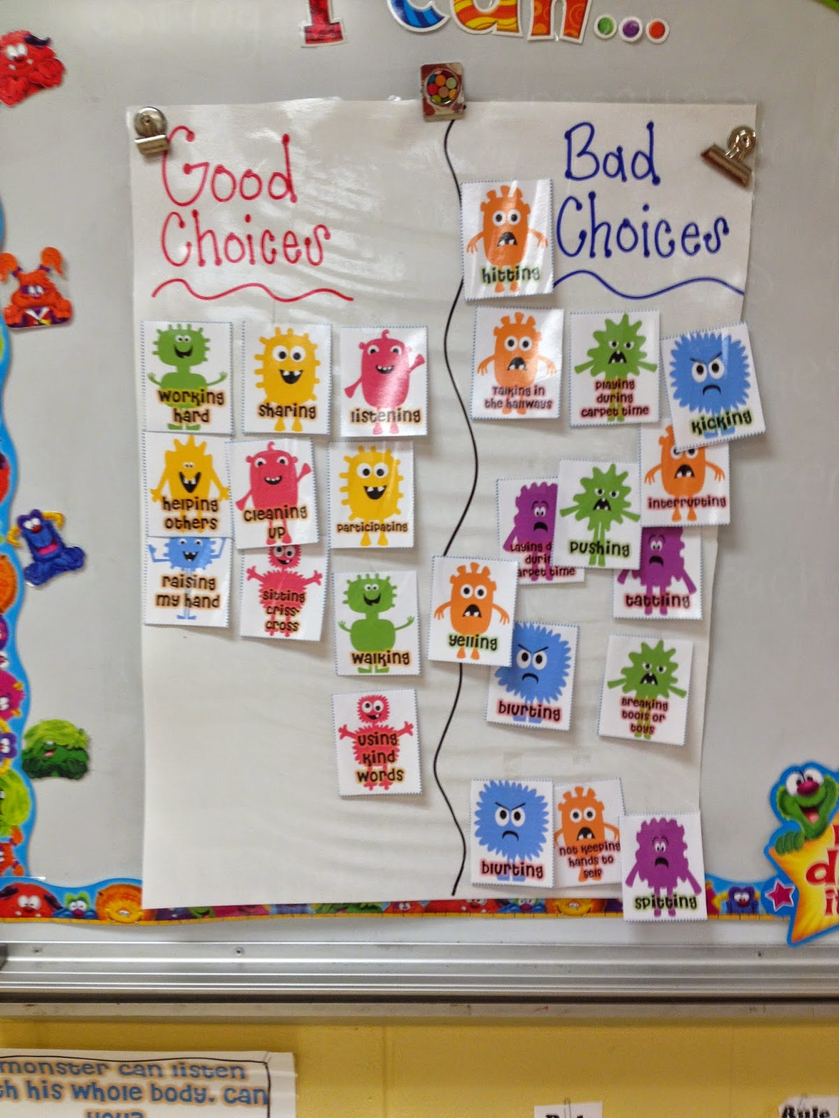 good choice bad choice chart: First grade mon stars first week of 1st grade