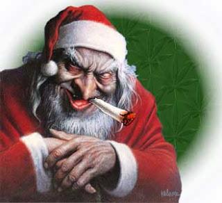 Fearful and smoking Santa Claus