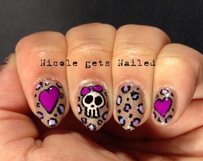Skull Heart Leopard Nail Art