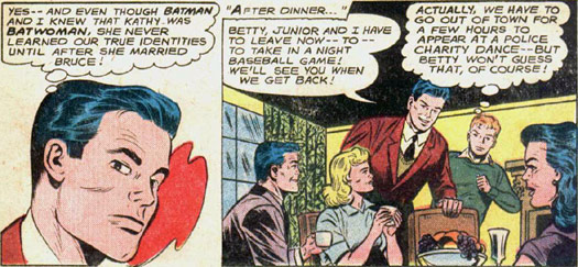 Batman 163 panels: grown Dick Grayson, then entire future Batman family; pencils and inks by Moldoff