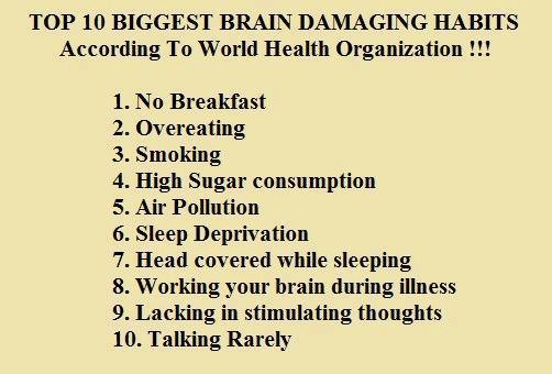 Top 10 biggest brain damaging habits, According to World health organization