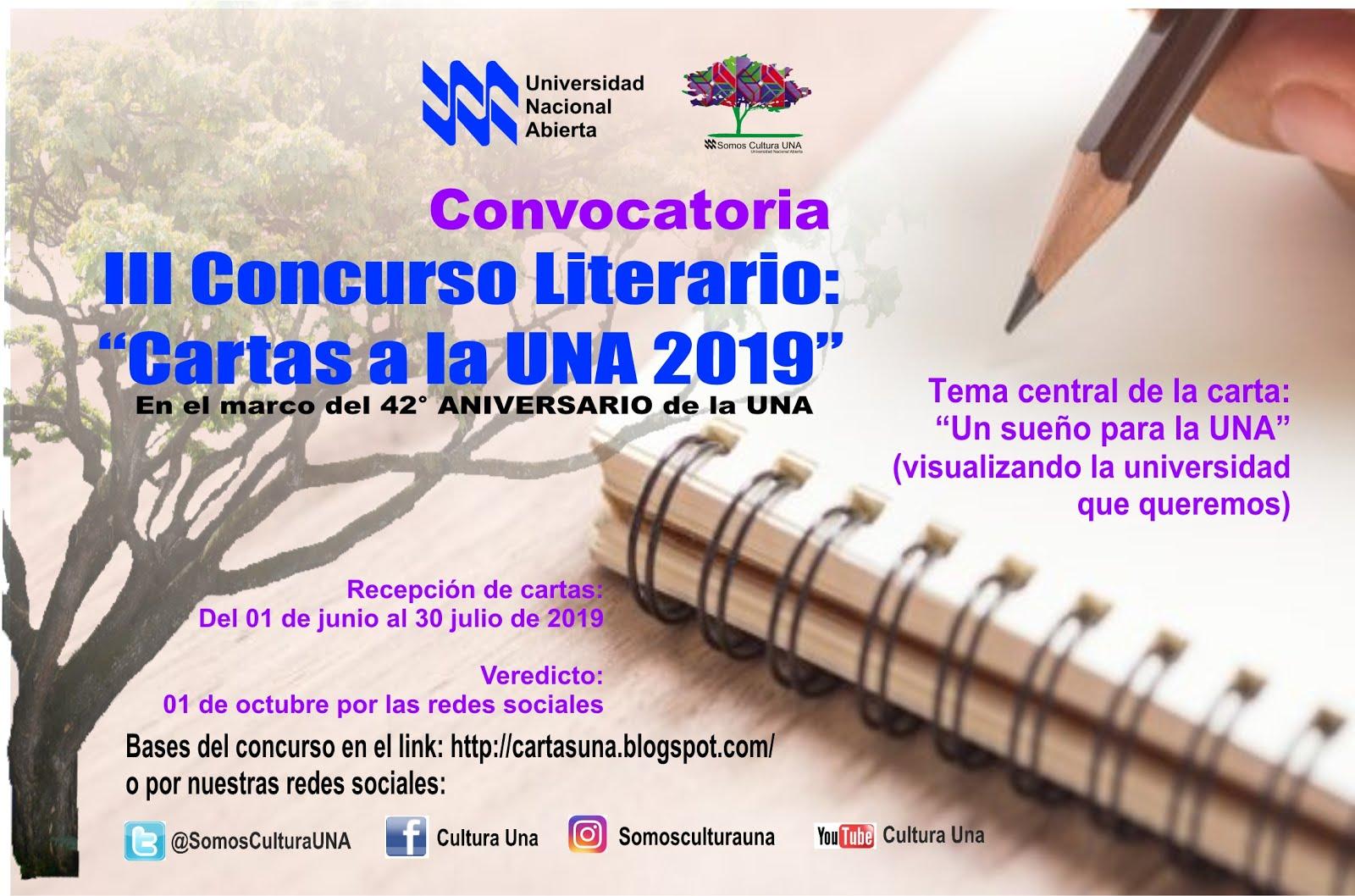 III Concurso Literario Cartas a la UNA 2019