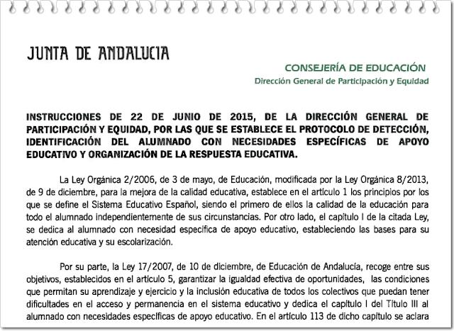 http://www.juntadeandalucia.es/educacion/portal/com/bin/Contenidos/PSE/orientacionyatenciondiversidad/educacionespecial/20150622_ins_protocolo_deteccion/1436768300246_instrucciones_22_junio_2015_con_anexos.pdf