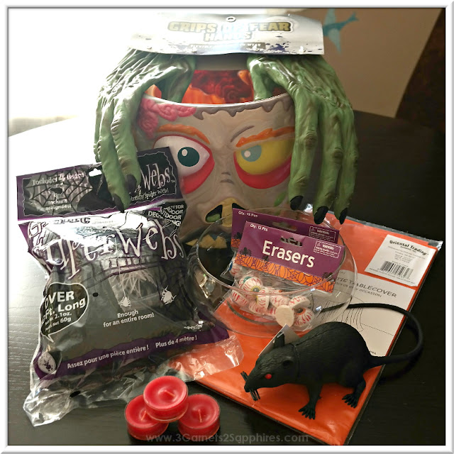 Easy DIY Zombie Head Halloween Centerpiece Supplies  |  www.3Garnets2Sapphires.com