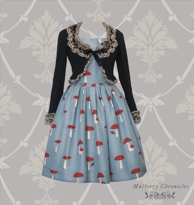 mulberry chronicles the woodland path otome kei jumperskirt egl melbourne indie brand toadstool print fabric