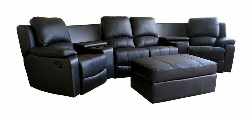 Curved Leather Reclining Sofa