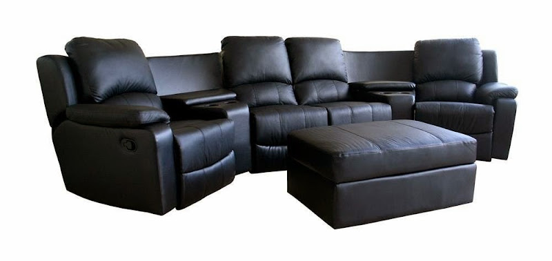 Curved Leather Sectional Reclining Sofa