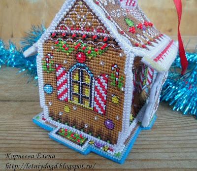 Пряничный домик вышивка  на пластиковой канве