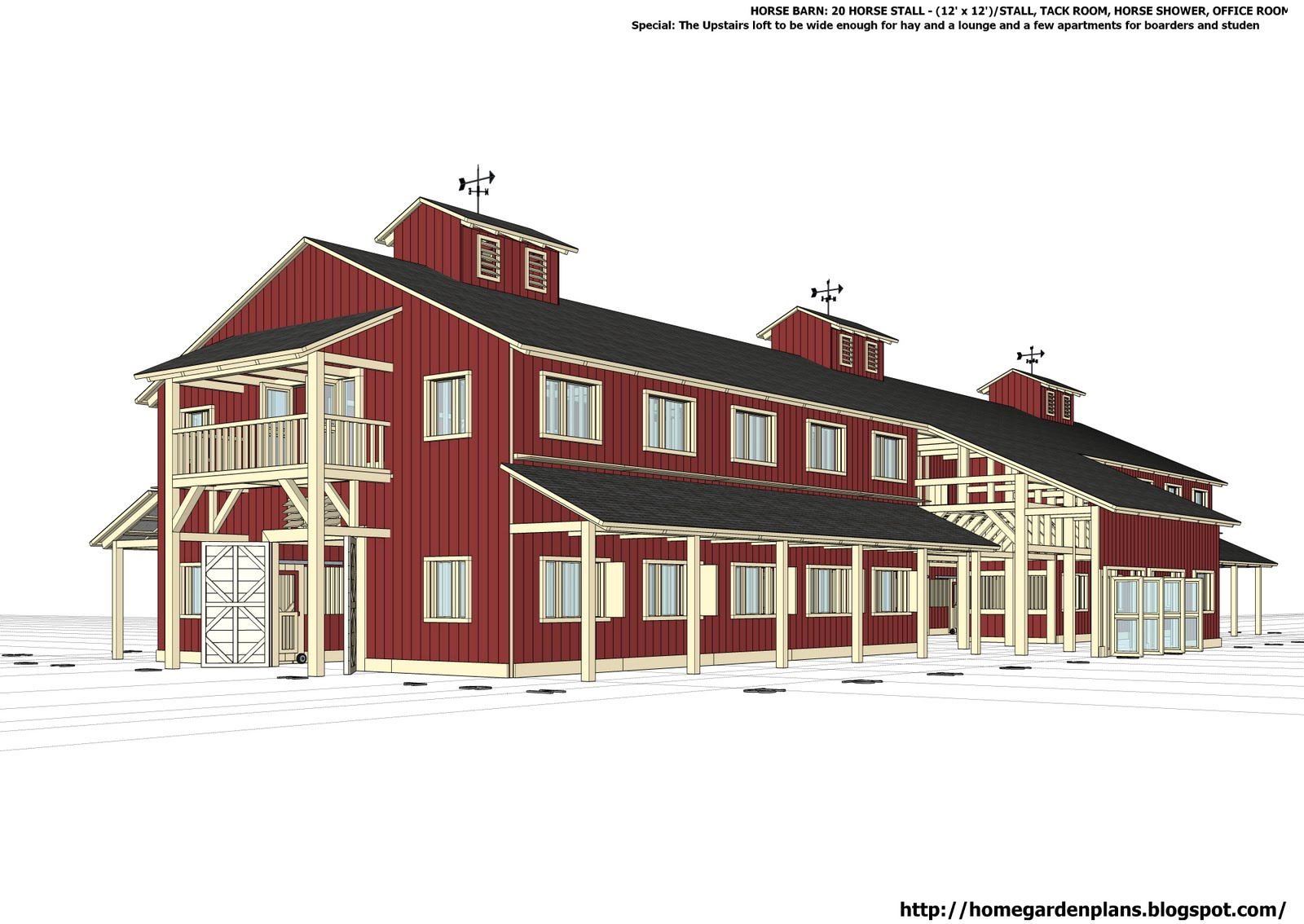 Home garden plans h20b1 20 stall horse barn plans for Horse barn designs