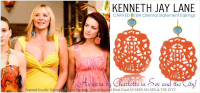 As Worn By Charlotte In The First City Movie These Fabulous Kenneth Jay Lane Carved Oriental Resin Earrings Have A Beautiful Turquoise Beaded Top
