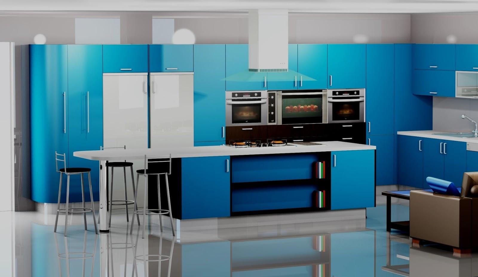 Dise O De Cocina Lacado En Azul Caribe
