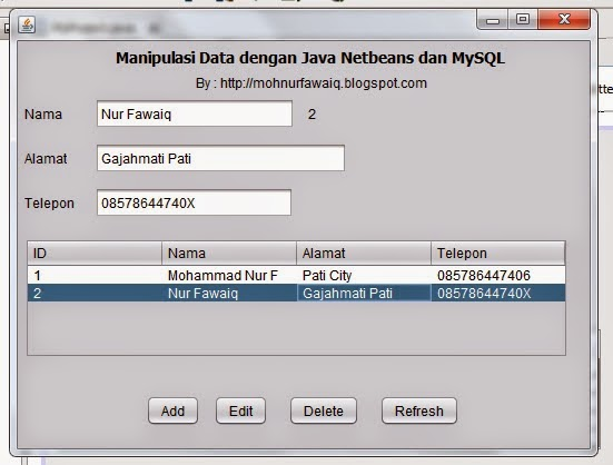 Membuat CRUD Sederhana dengan Java Netbeans dan MySQL