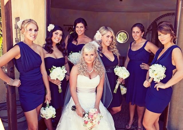 Vintage Navy & Blush Pink Estate Wedding Navy Bridesmaid Dresses