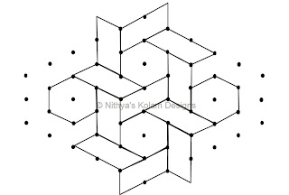 4 Kolam 87: Lines Kolam Interlocked dots 8 to 3