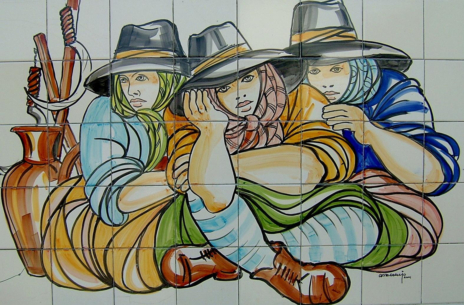 Costa araujo tr s ceifeiras pintura em azulejo painel - Pintura de azulejos ...